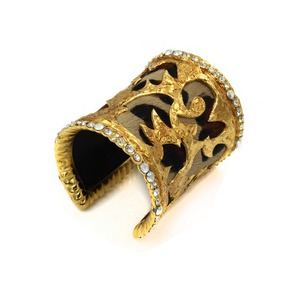 VINTAGE CHRISTIAN LACROIX LEOPARD AND DIAMANTE CUFF CIRCA 1980'S