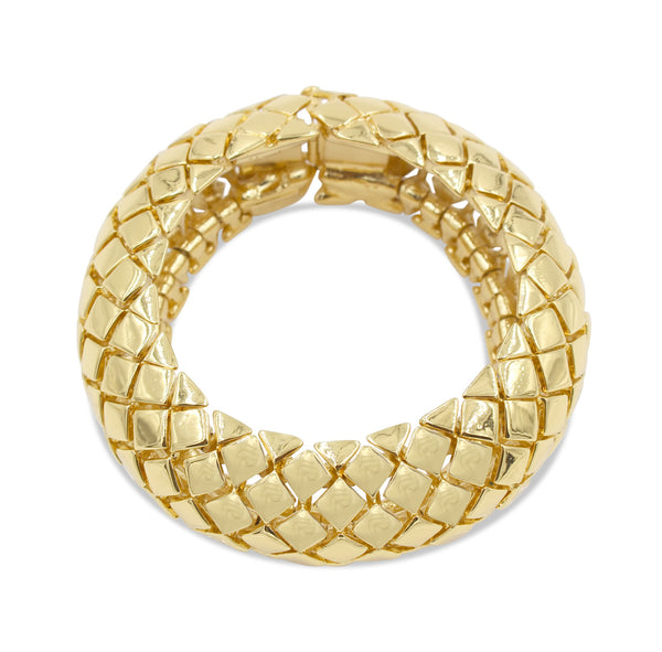 VINTAGE YSL GOLD TONE QUILTED BRACELET CIRCA 1980'S