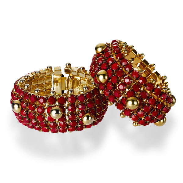 VINTAGE DELILLO GOLD TONE WITH RED HEAVY BRACELETS CIRCA 1968