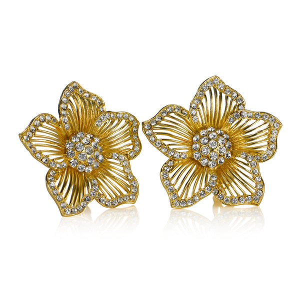 VINTAGE DIAMANTE AND GOLD TONE FLOWER EARRINGS CIRCA 1960'S