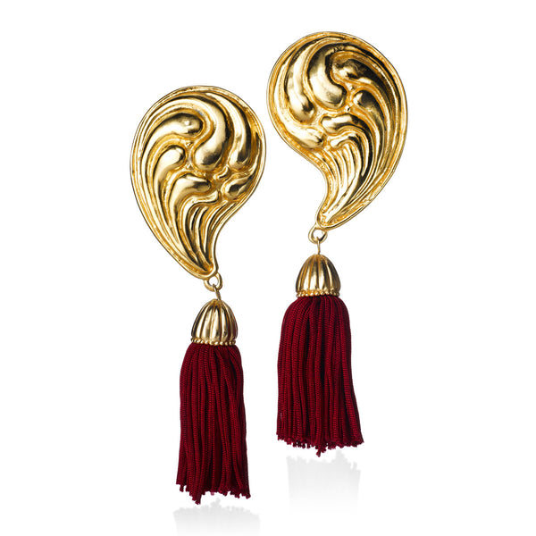VINTAGE EDOUARD RAMBAUD GOLD TONE WITH RED TASSEL EARRINGS CIRCA 1980'S