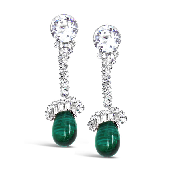 VINTAGE VENDOME DIAMANTE WITH DANGLING GREEN CABOCHON CIRCA 1960'S