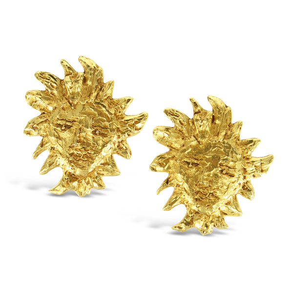 VINTAGE YSL GOLD TONE ICONIC SUN FACE EARRINGS CIRCA 1980'S