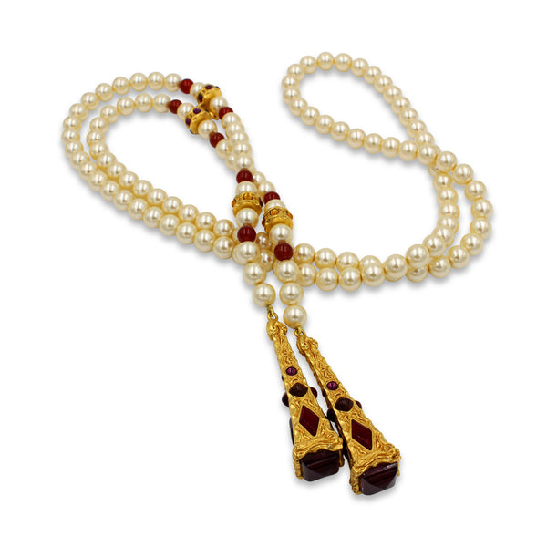 VINTAGE CHRISTIAN DIOR PEARL AND GOLD TONE LARIAT, CIRCA 1980'S