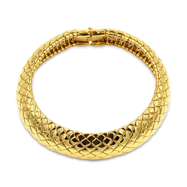 VINTAGE YSL GOLD TONE QUILTED CHOKER CIRCA 1980'S