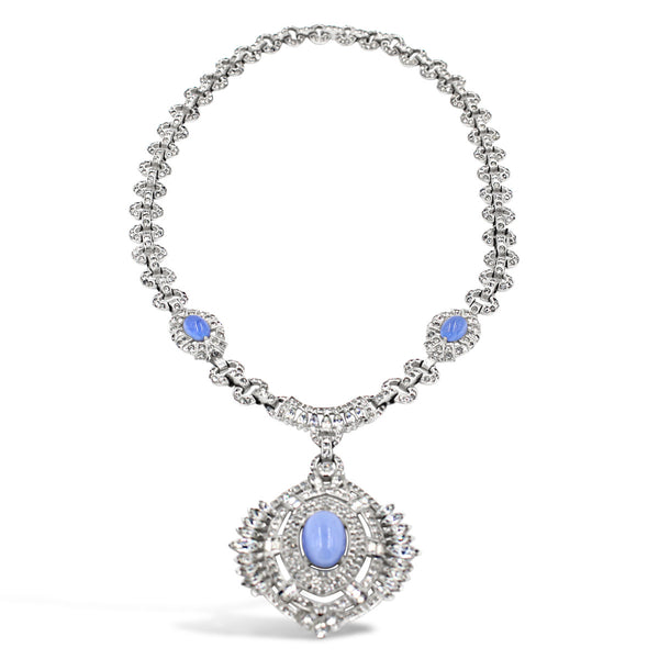 VINTAGE DIAMANTE ART DECO WITH BLUE MOON STONE LOOK CIRCA 1960'S