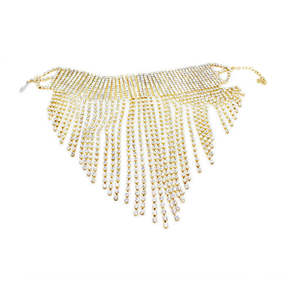 COLLECTIBLE DIAMANTE  GOLD TONE FRINGE CHOKER CIRCA 1990'S