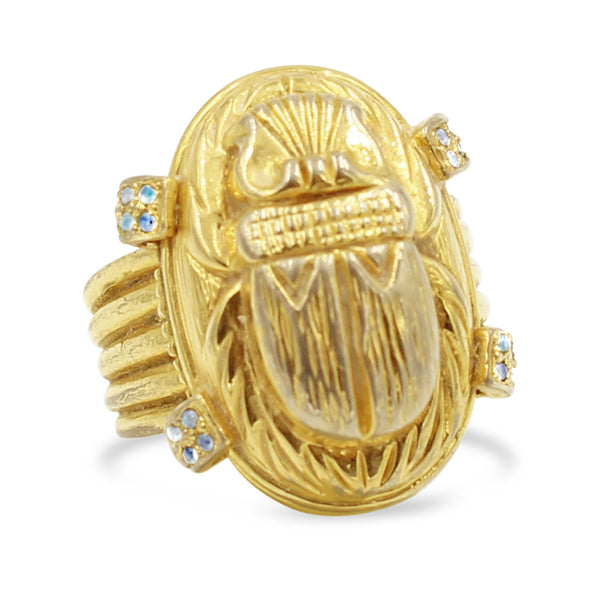 VINTAGE NETTIE ROSENSTEIN GOLD TONE  AND DIAMANTE SCARAB RING CIRCA 1960'S