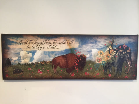 """And the beast from the wild..."" Canvas Art 10"" x 30"""