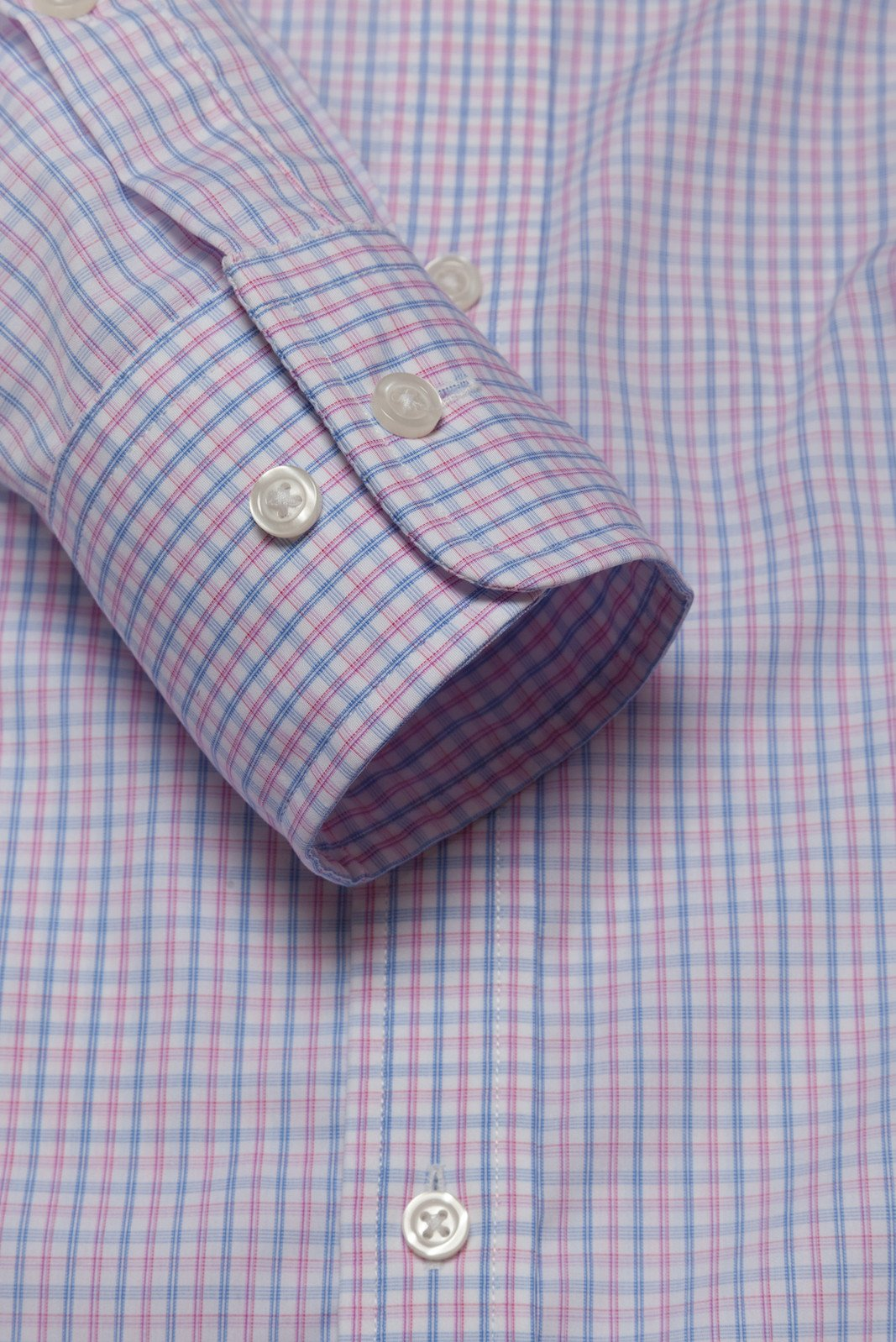 Wrinkle-Resistant Light Blue and Pink Bordered Tattersall: Button-Down Collar, Barrel Cuff