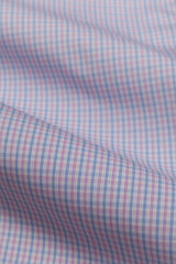 Wrinkle-Resistant Light Blue and Pink Bordered Tattersall: Modified-Spread Collar, French Cuff