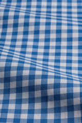 Blue Gingham: Cutaway Collar, Barrel Cuff