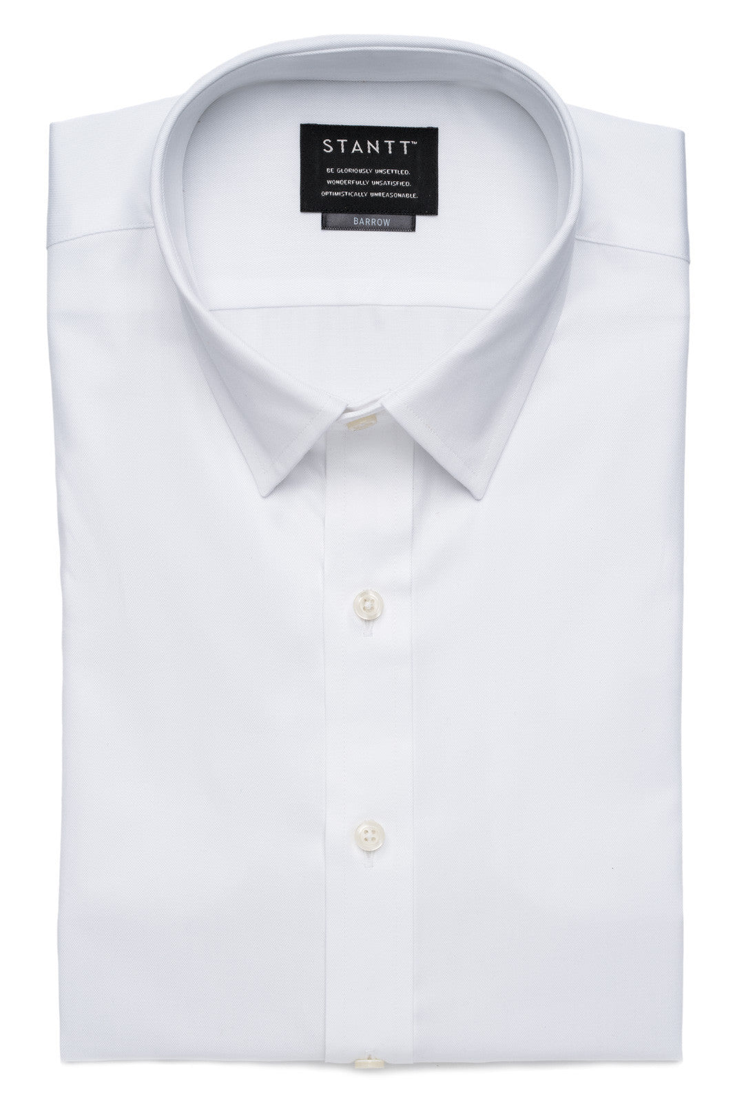 Fine White Twill: Semi-Spread Collar, Barrel Cuff