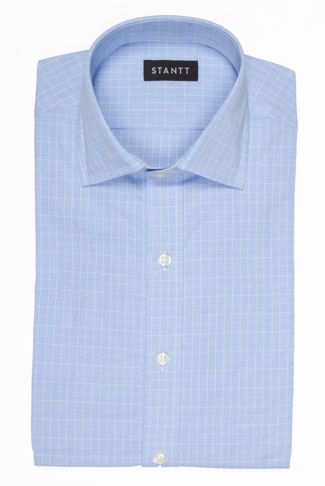 Light Blue Mini Prince of Wales Check: Modified-Spread Collar, French Cuff