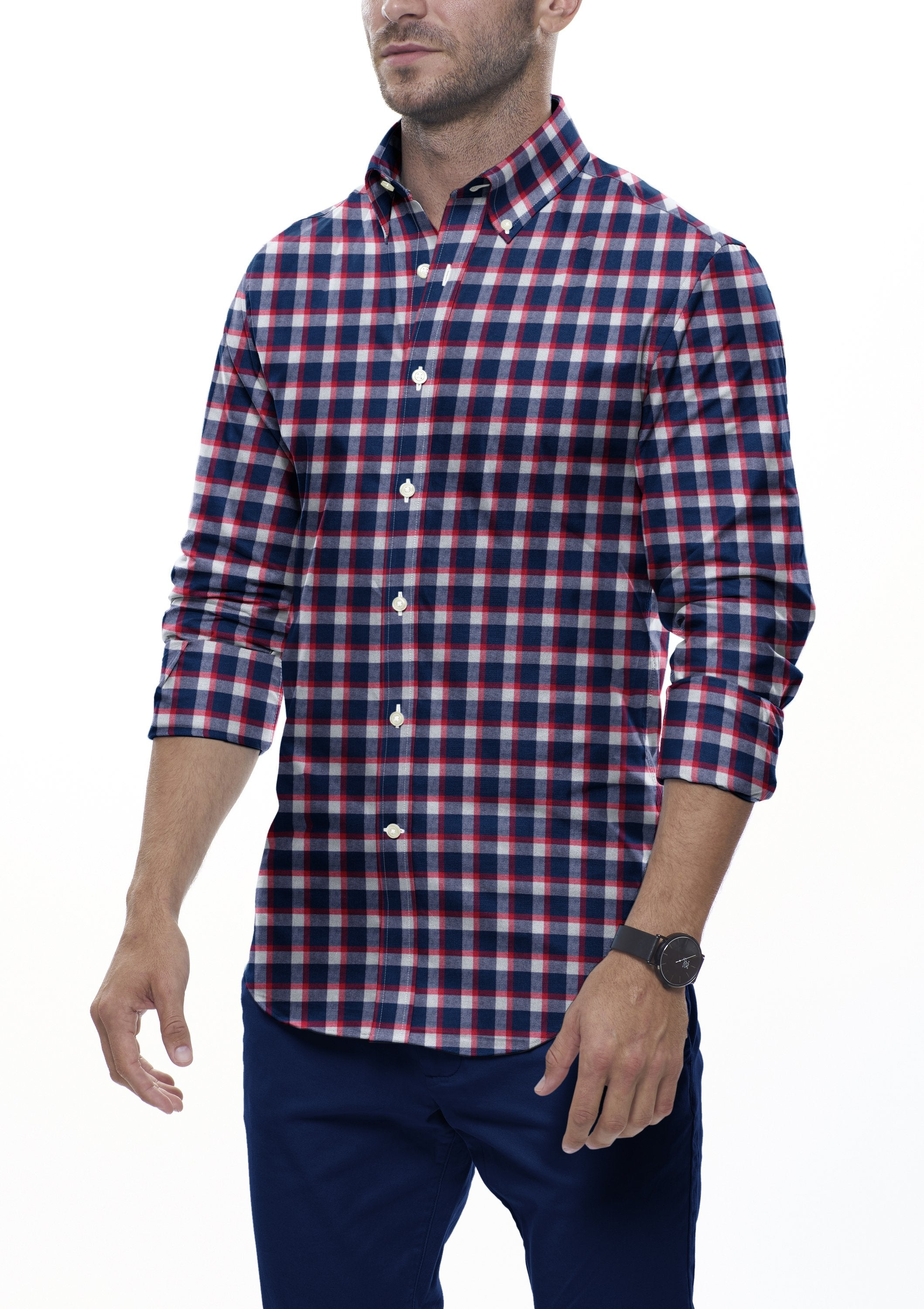 Red Accented Check Flannel: Button-Down Collar, Barrel Cuff