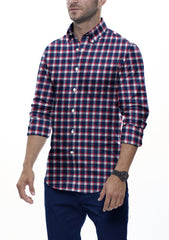 Red Accented Check Flannel: Semi-Spread Collar, Barrel Cuff