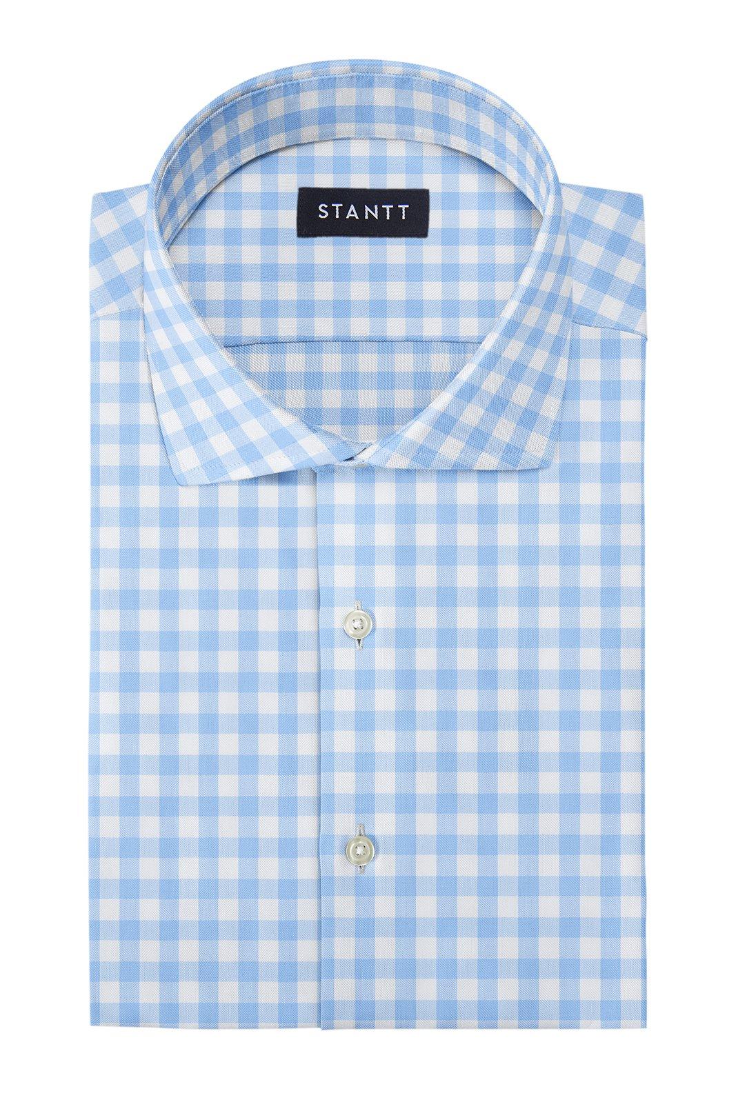 Duca Light Blue Gingham: Cutaway Collar, Barrel Cuff