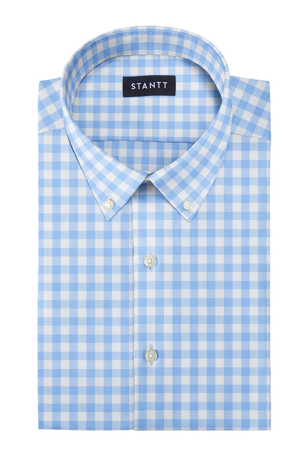 Duca Light Blue Gingham: Button-Down Collar, Barrel Cuff
