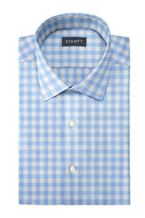 Duca Light Blue Gingham: Modified-Spread Collar, French Cuff