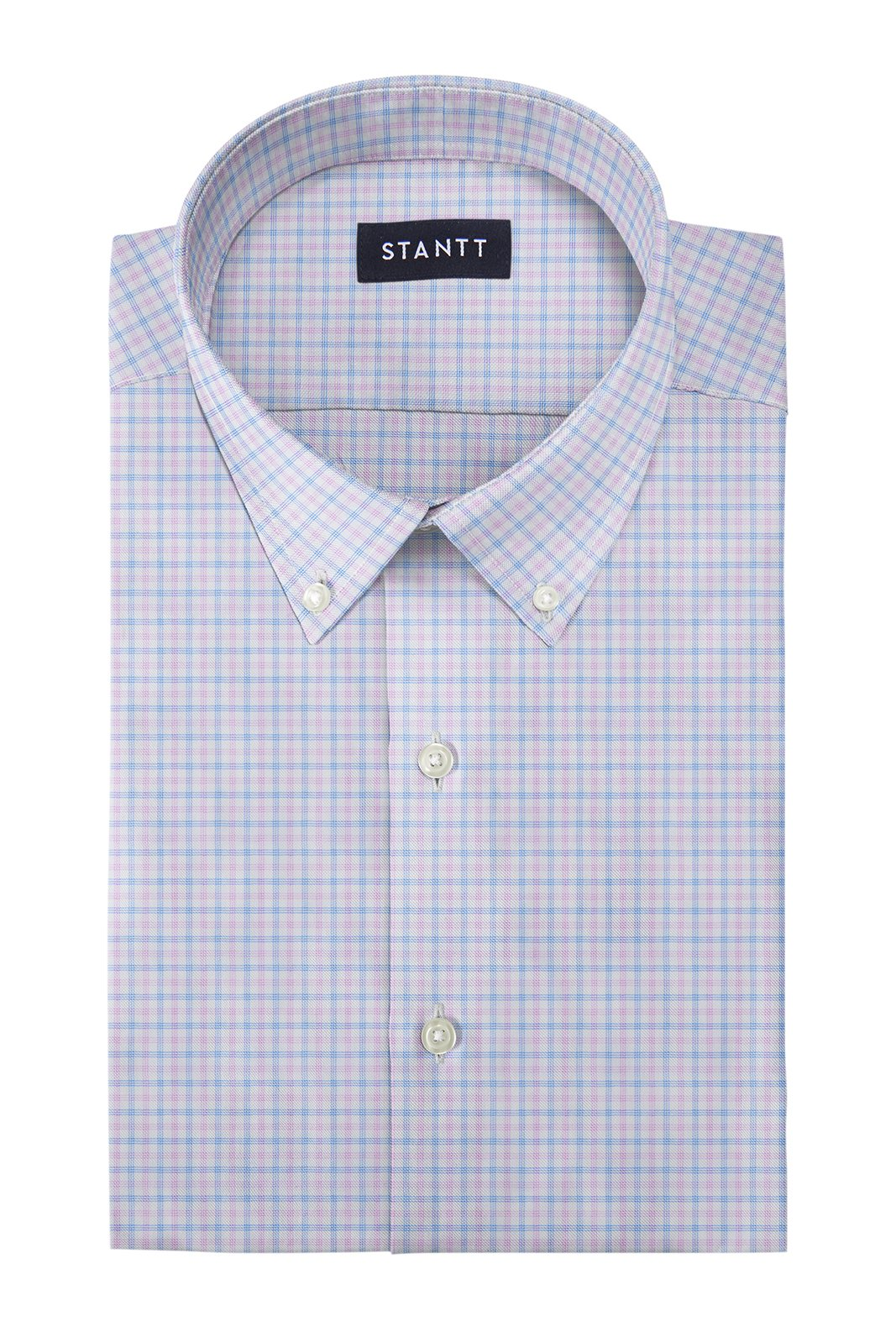 Performance Light Pink and Sky Blue Tattersall: Button-Down Collar, Barrel Cuff