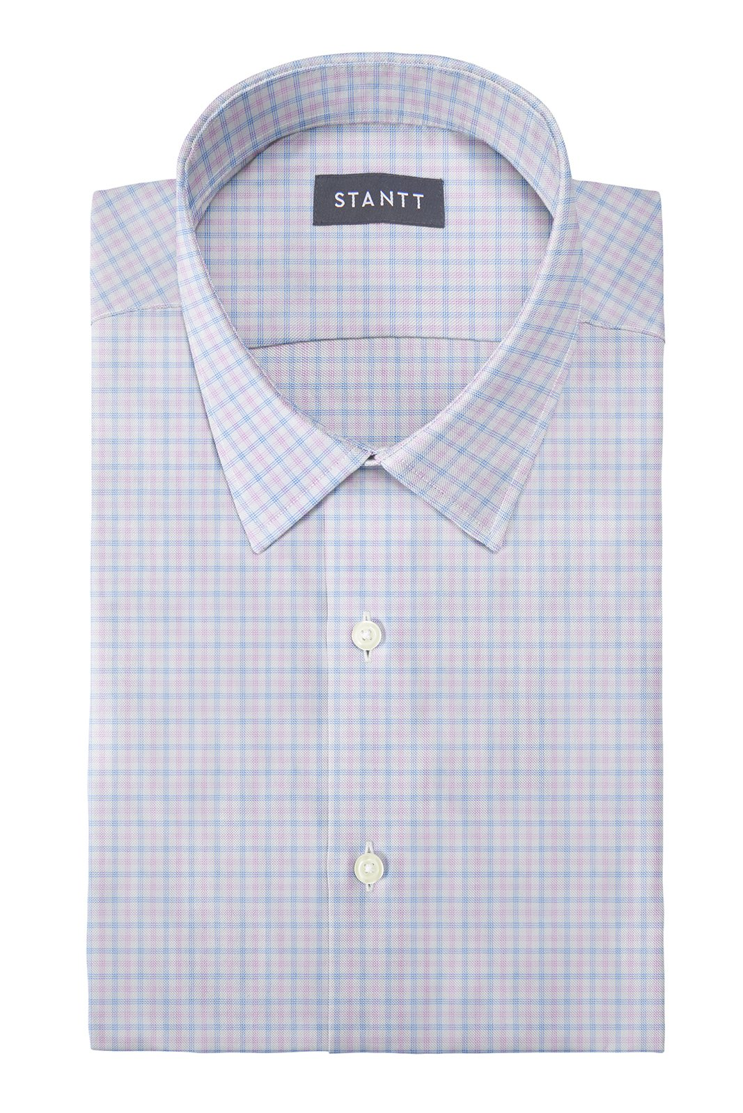 Performance Light Pink and Sky Blue Tattersall: Semi-Spread Collar, Barrel Cuff