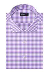 Performance Purple Gingham: Cutaway Collar, French Cuff