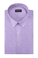 Performance Purple Gingham: Button-Down Collar, Barrel Cuff