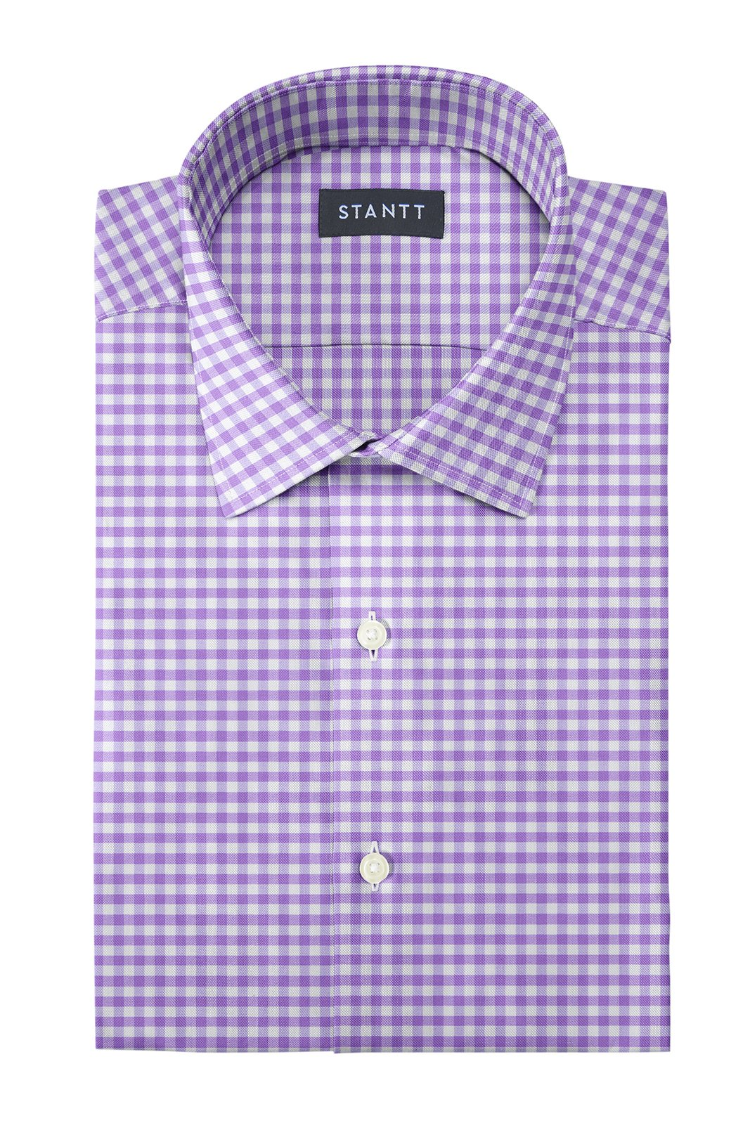 Performance Purple Gingham: Modified-Spread Collar, Barrel Cuff