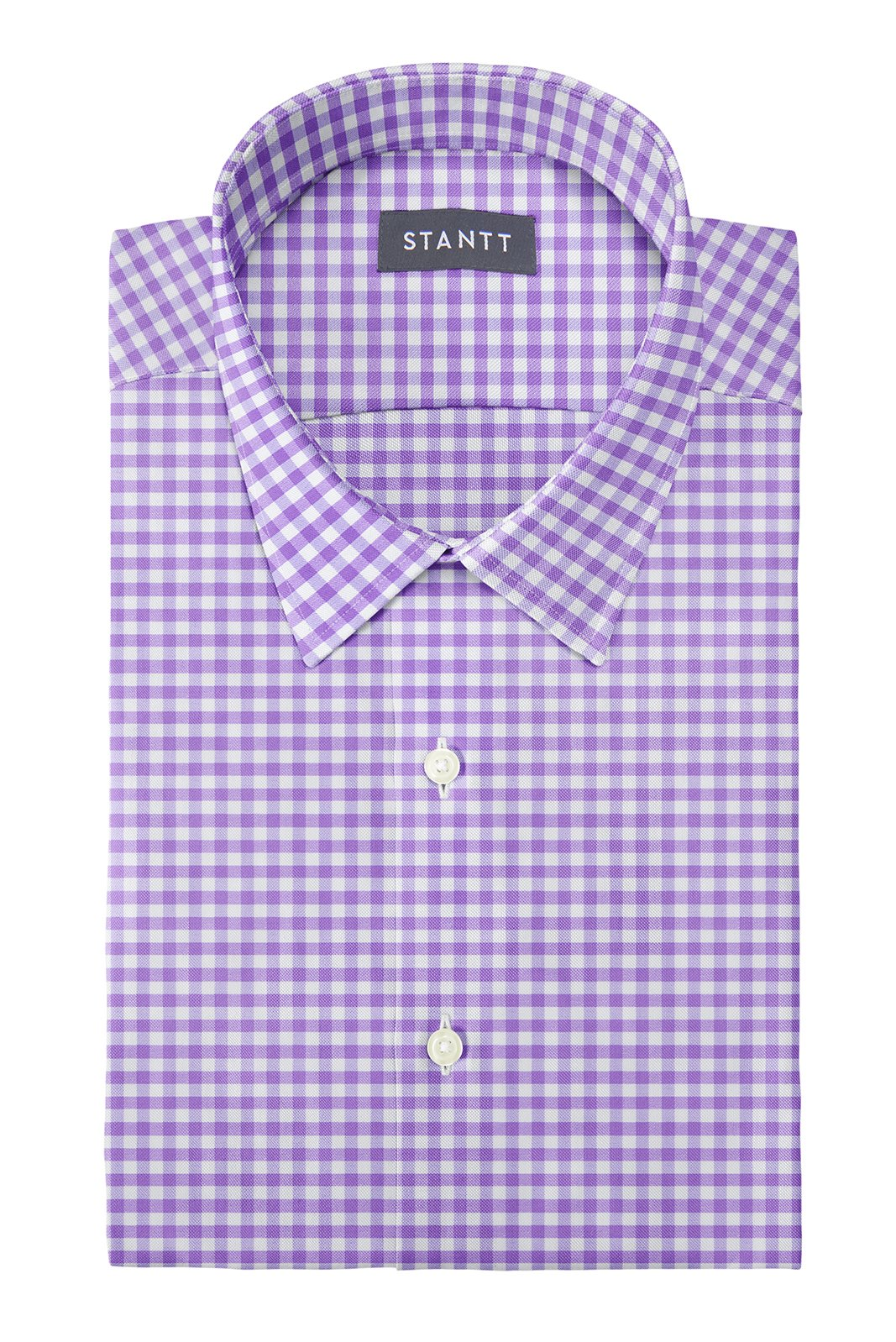 Performance Purple Gingham: Semi-Spread Collar, Barrel Cuff