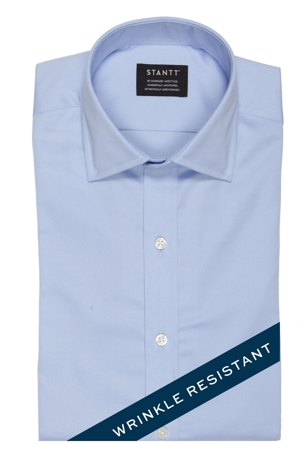 Wrinkle-Resistant Light Blue Oxford