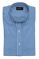 Blue Gingham: Cutaway Collar, French Cuff