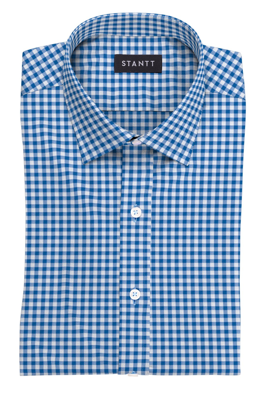 Blue Gingham: Modified Spread Collar, French Cuff