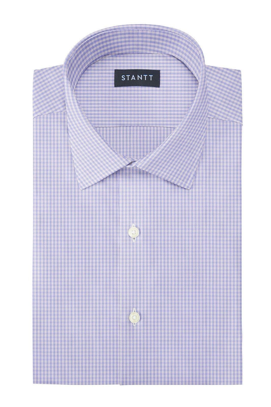 Wrinkle-Resistant Sky Blue Grid Check: Modified-Spread Collar, French Cuff
