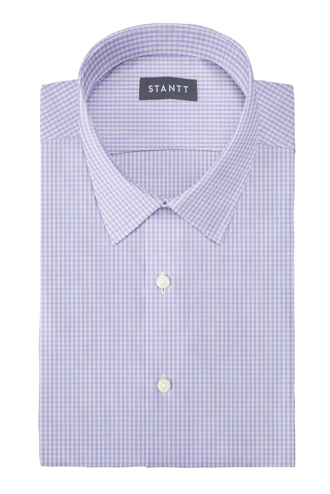 Wrinkle-Resistant Sky Blue Grid Check: Semi-Spread Collar, Barrel Cuff