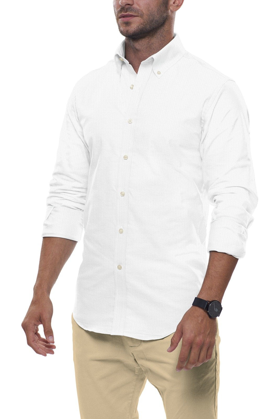White Cotton Seersucker: Semi-Spread Collar, Long Sleeve