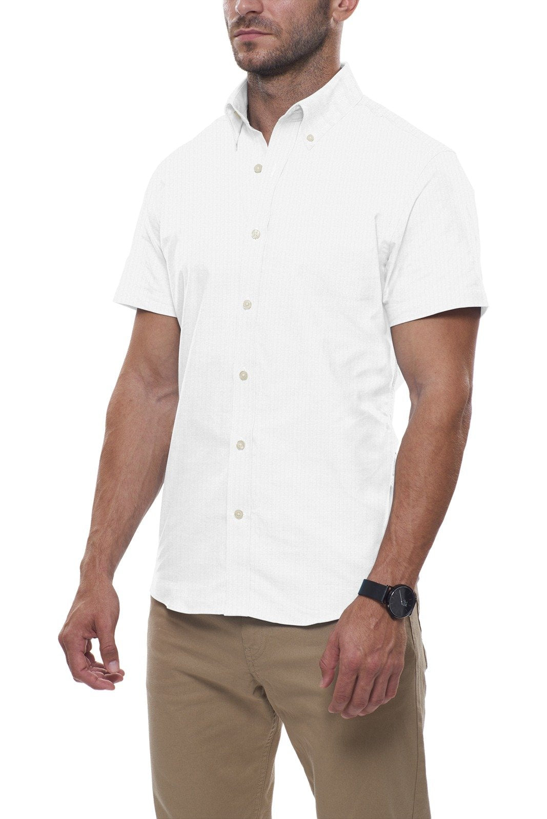 White Cotton Seersucker: Semi-Spread Collar, Short Sleeve