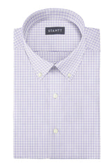 Performance Sage and Periwinkle Tattersall: Button-Down Collar, Barrel Cuff