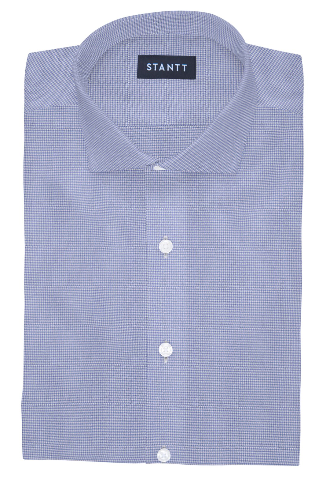 Performance Light Blue Houndstooth: Cutaway Collar, Barrel Cuff