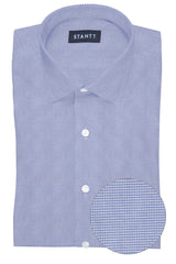 Performance Light Blue Houndstooth: Modified-Spread Collar, French Cuff