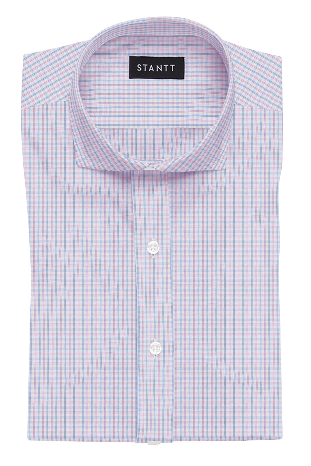 Wrinkle-Resistant Light Blue and Pink Bordered Tattersall: Cutaway Collar, French Cuff