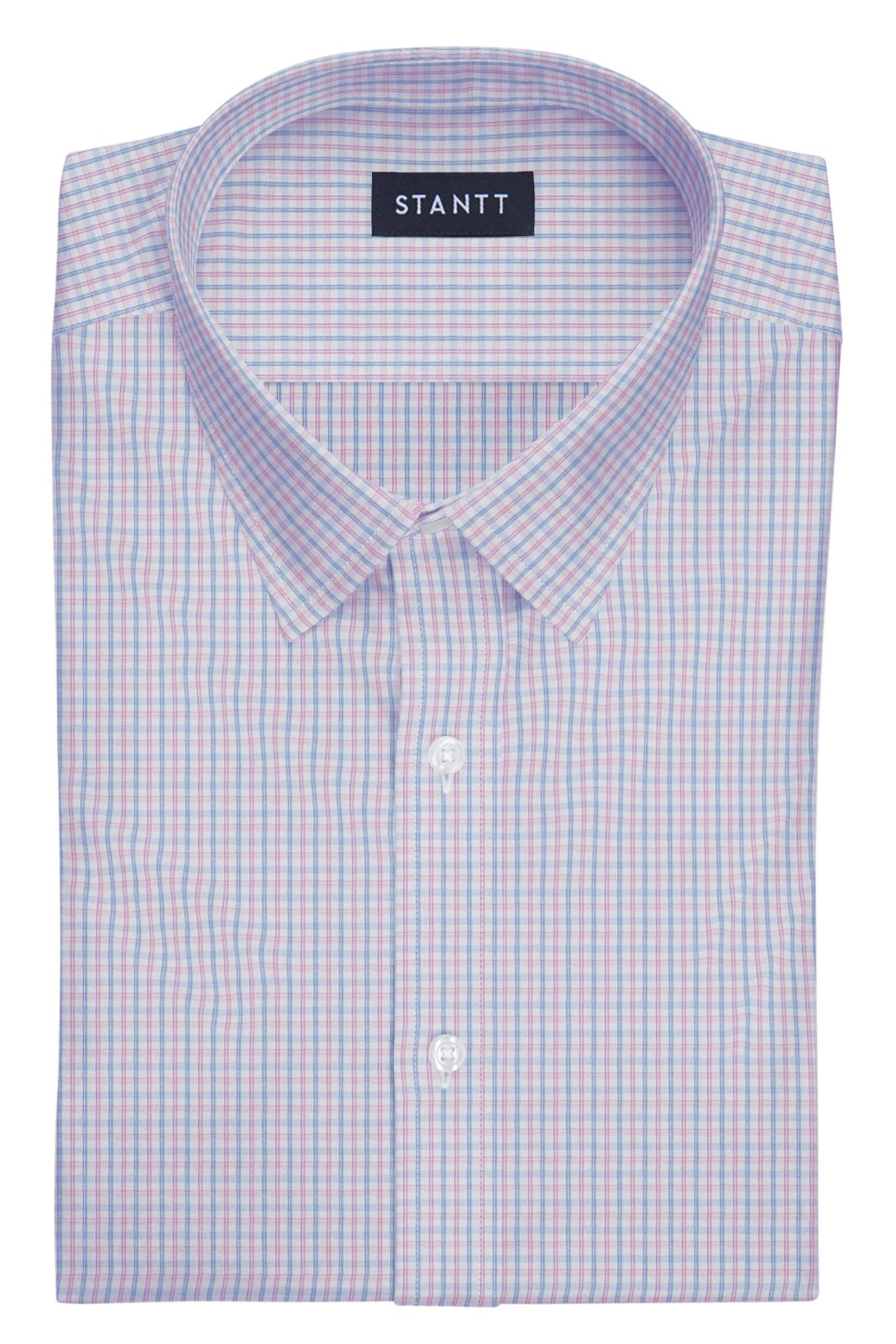 Wrinkle-Resistant Light Blue and Pink Bordered Tattersall: Semi-Spread Collar, French Cuff