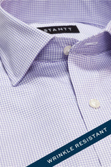 Wrinkle-Resistant Purple Accented Mini-Check