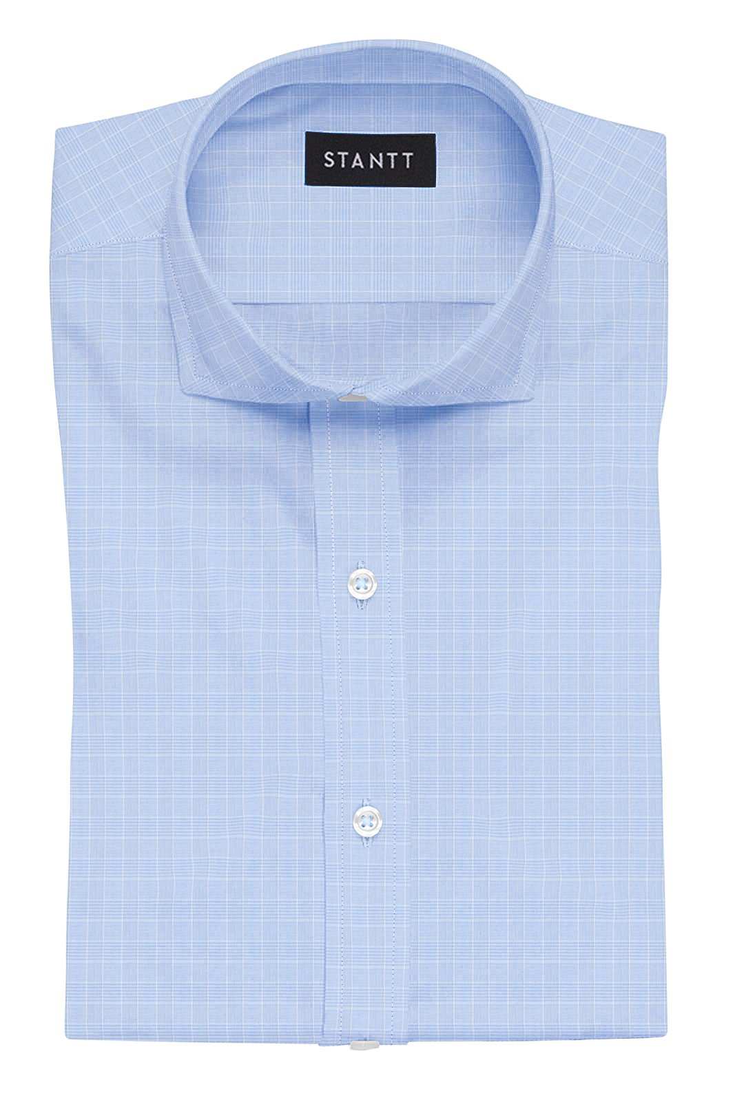 Light Blue Mini Prince of Wales Check: Cutaway Collar, French Cuff
