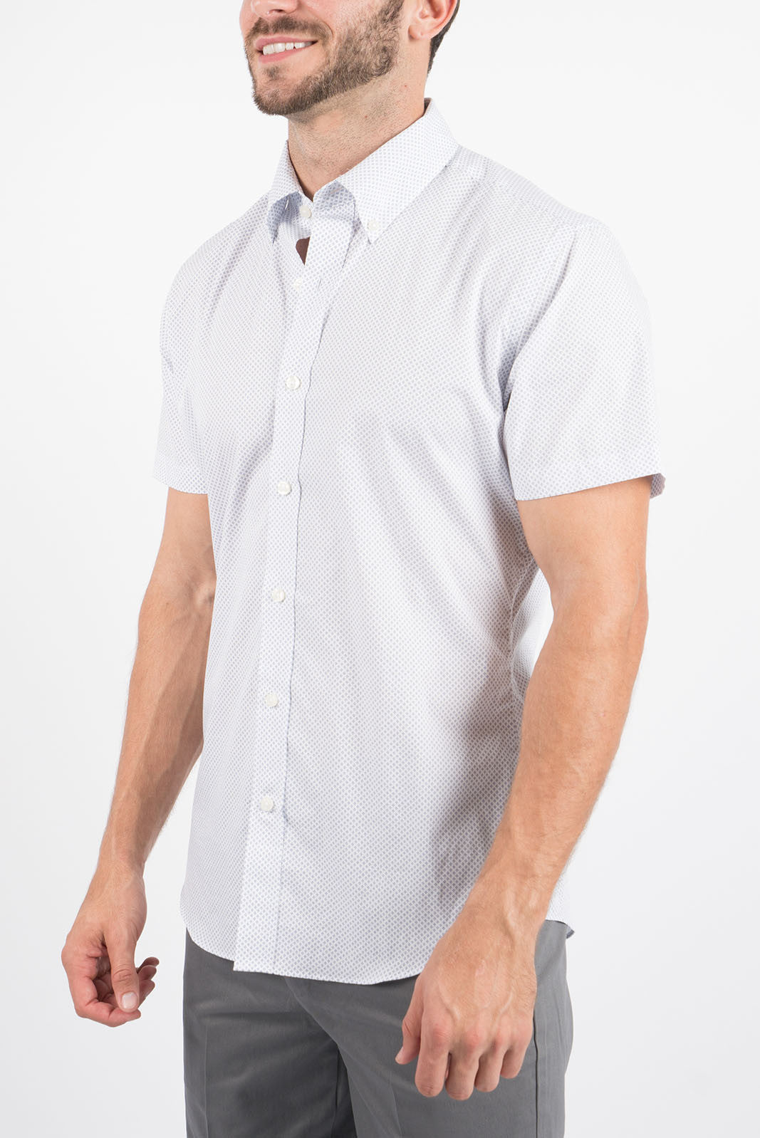 White Diamond Dot: Semi-Spread Collar, Short Sleeve