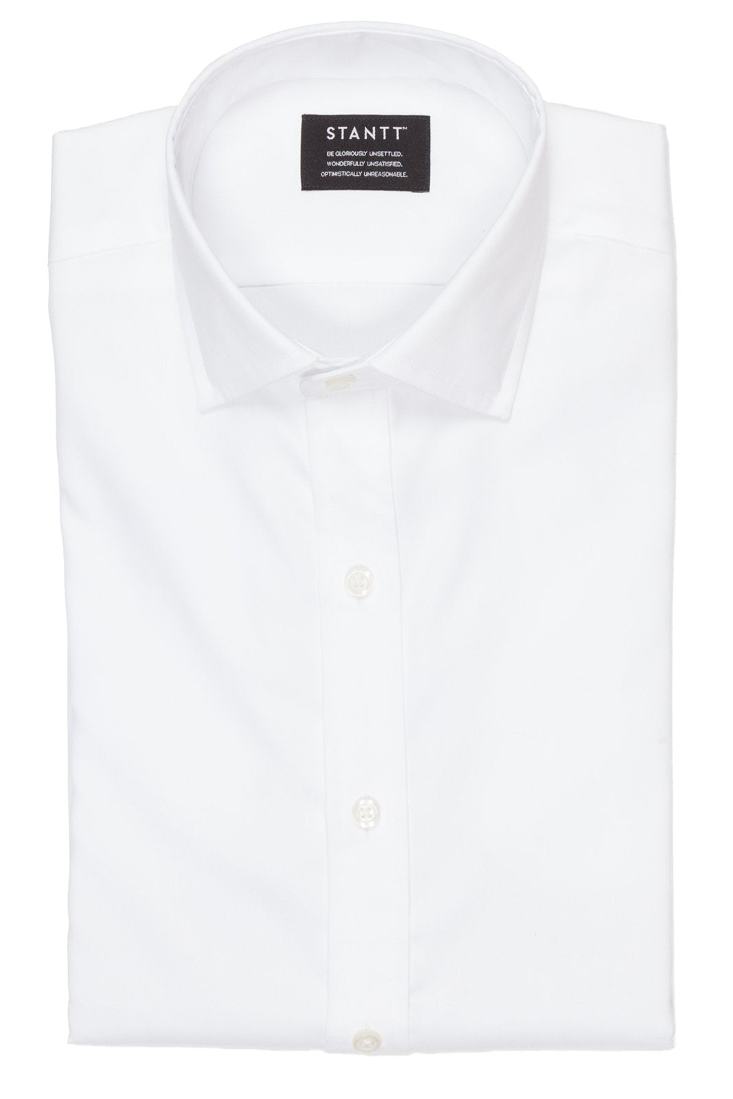 White Pinpoint Oxford: Modified-Spread Collar, Barrel Cuff