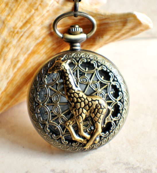 Giraffe battery operated pocket watch in bronze. - Char's Favorite Things - 1