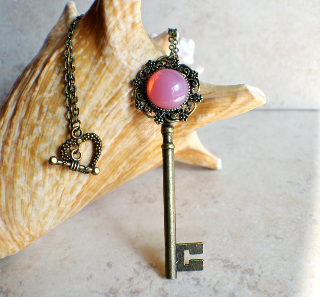 Victorian Skeleton Key Necklace with Rose Glass Opal