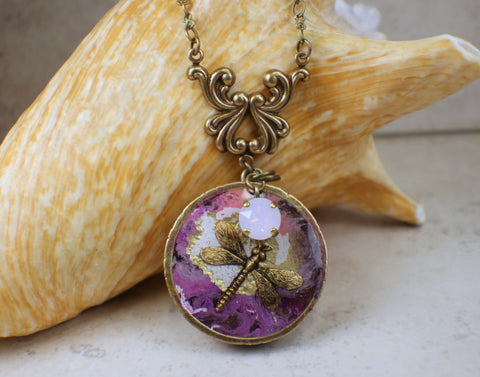 Art Nouveau Necklace with Dragonfly