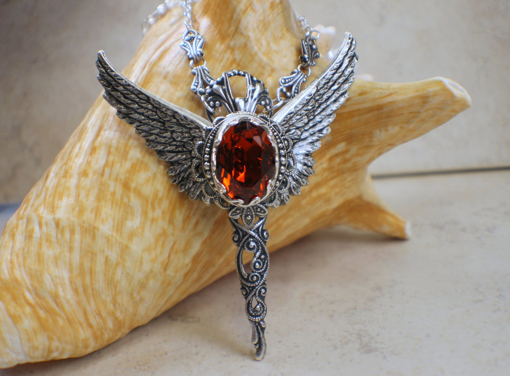 Red Swarovski Crystal Wing Necklace Gothic Style