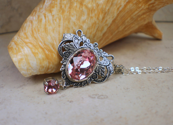 Rose Swarovski Crystal and Filigree Necklace